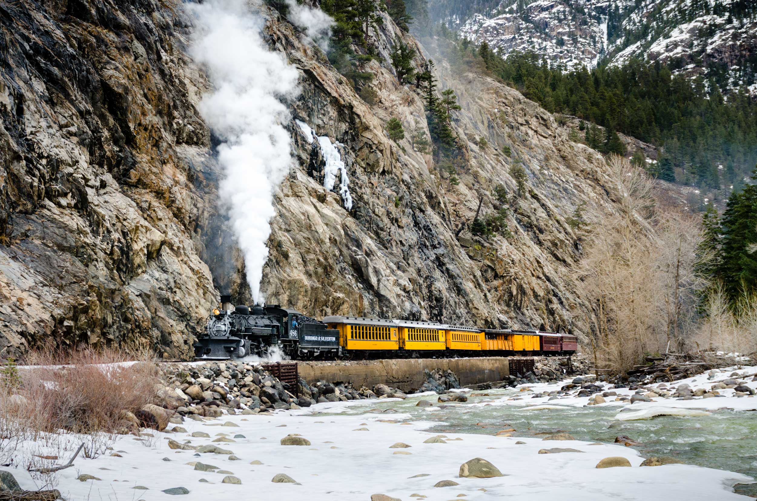 photo of durango silverton narrow gauge railroad next to mountain